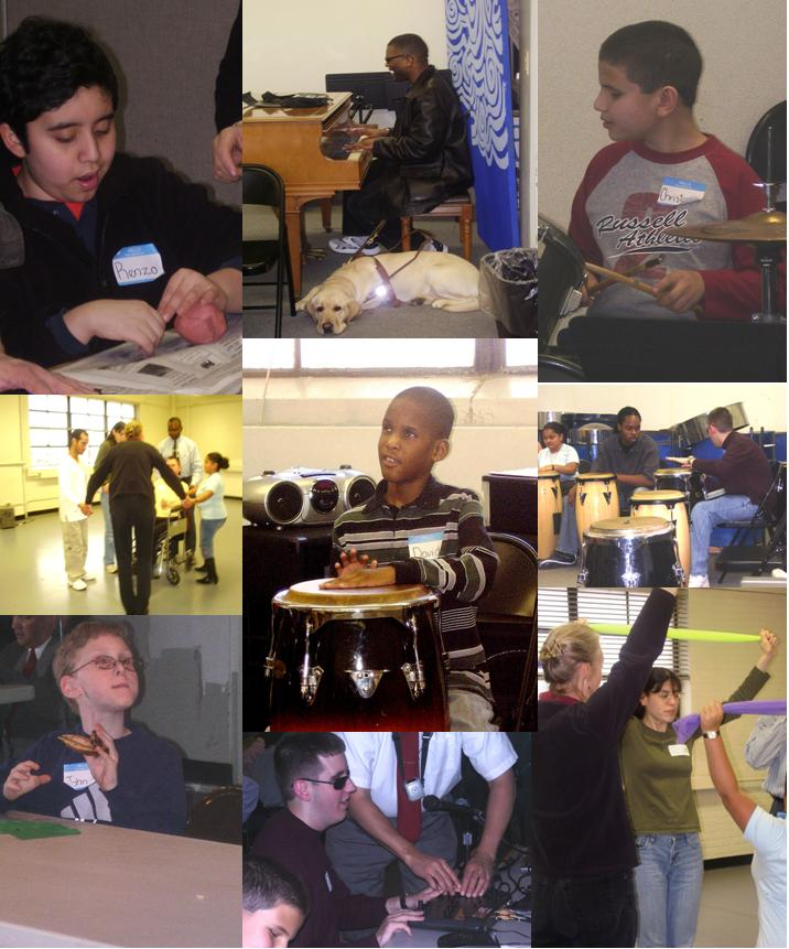 2. Pictures of children and young people jamming on instruments, working with clay, hip hop dancing and baking and eating cookies.  Caption reads,
