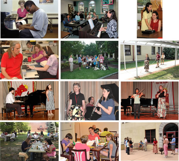 1. An array of twelve pictures showing activities of the Summer Institute, including one-on-one and group instruction in braille music, a computer class, students and staff singing a Bach chorale from braille in the Overbrook School's west cloister garden, students traveling the school campus, performances at concerts, a picnic and other fun outside the classroom. Caption reads,